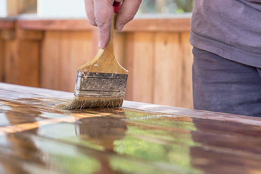 Paint Treated Wood Surface